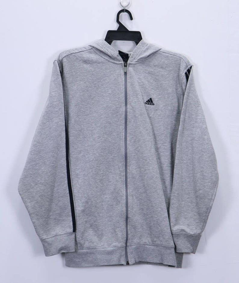 deb0cfc1b8a4d Vintage Adidas Sweater Hoodie small Embroidery logo Three Stripes Black  size Medium Made In Indonesia Gray Color