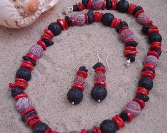 Volcanic - necklace and earrings made of coral, lava, agate, nacre and silver