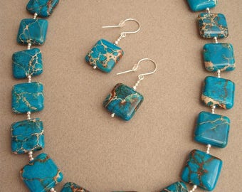 Atlantis - necklace and earrings made of jasper (oceanic) and silver