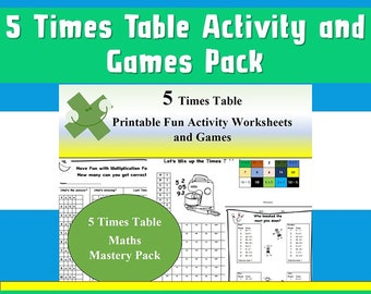 Multiplication Table Game, Puzzles Activity Pack,  5 Times Tables/Answers Included/Worksheets , Year 2, 3, 4, 5 , 6 Grade 1, 2, 3, 4,5