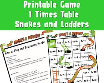 Times Tables Game Multiplication Snakes and Ladder ks2/ Kids Printable Multiplication/ Teach Multiplication to Struggling Students/ 1 Times
