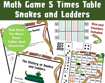 Multiplication Snakes And Ladders Printable 5 Times Table Board Game Related To Maths Kids KS2 Games For