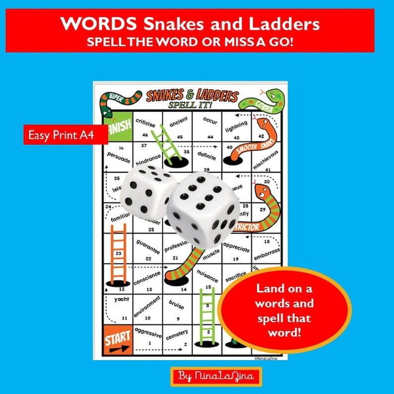 Printable Word Game PDF Snakes and Ladders Learn To Spell image 0