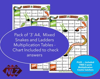 Multiplication Snakes and Ladders Pack, 3 Games Included , Bonus Bundle Cootie Catcher & Chart Included Year 3,4,5,6 Grade 2,3,4,5,