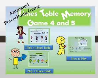 Times Table Quiz Powerpoint, Multiplication, Presentation Multiplication Tables, Five and 4 Times Tables