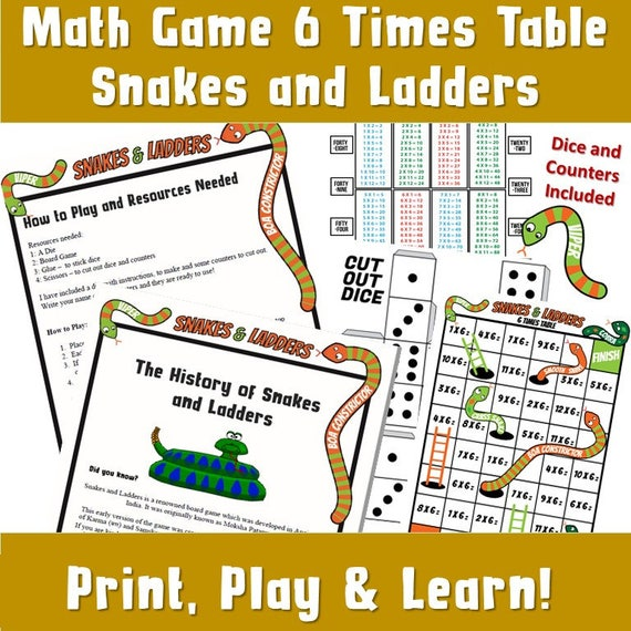 picture relating to Printable Math Board Games identified as Printable Math/ Small children Useful Printable Occasion Board Game titles/ Multiplication Snakes and Ladders/ Little ones Actions/ Push Print Enjoy/ 6