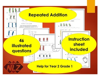 Repeated Addition Worksheets Illustrated Activity Sheets, Multiplication Tables Strategies, Teach Year 1, 2 Grade Kindergarten, PDF File