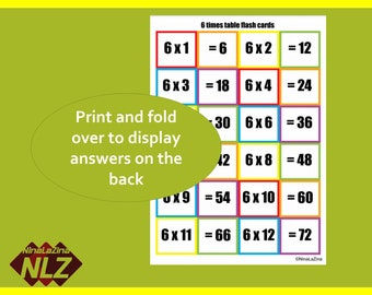Multiplication Table Flash Cards Printable, FREE BINGO times tables,  6 and 7 Multiplication Activity Reversible Cards, Fun Snap Play Cards,