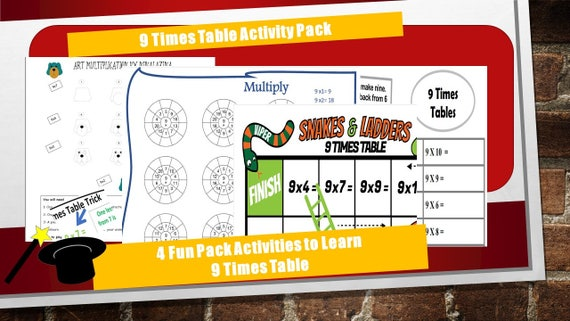 9 times Table Worksheet kS2/ For Year 4, 5, 6/ For Grade 3, 4, 5, 6/ 9 times table games trick/ printable times tables/multiplication table