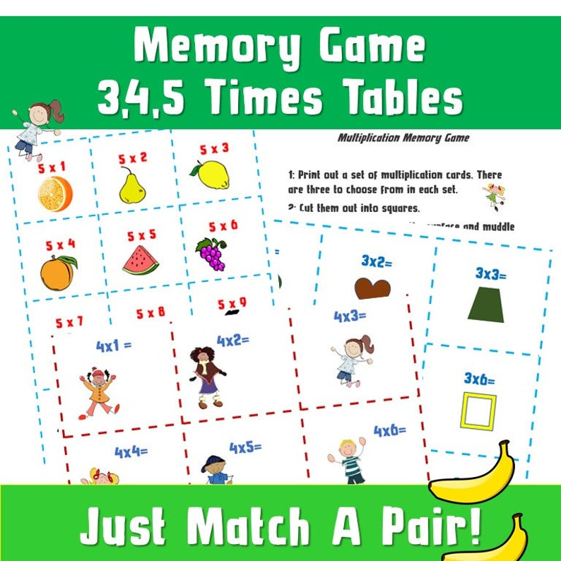 image about Printable Memory Games for Seniors named Math Memory Game titles Printable/ Autism Video games/Occasions Tables Online games ks2/ Memory Pursuits for Learners/ Online games/Multiplication/ Youngsters Activity Playing cards/