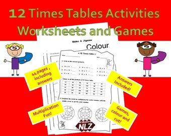 12 Times Tables Games and Activities Pack, Printable Multiplication Tables, Ideas to Teach, KS2 Resources, Year 3, 4, 5, 6 Grade 2, 3, 4, 5