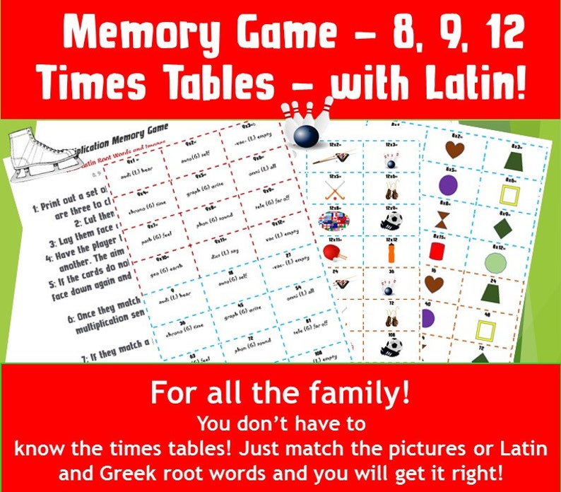 graphic relating to Printable Memory Game identified as Multiplication Matching Recreation Printable/ Memory Youngsters Video game Playing cards/Online games in the direction of print/ situations tables game titles ks2 /math game titles for quality 4/ NinaLaZina