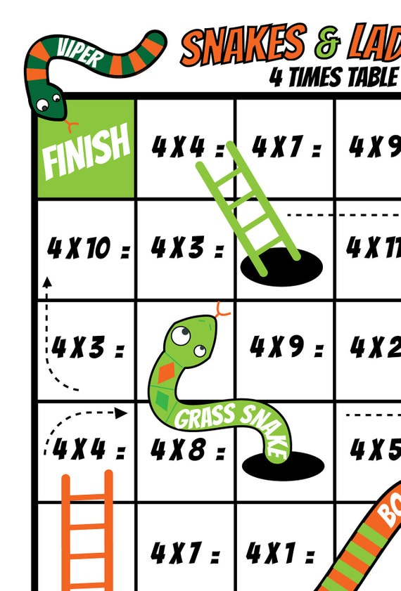 photo regarding Printable Board Games for Kids named Board Game titles / Little ones Printable Video games /Reward Occasion Board Online games /3 and 4 Days Multiplication/ Snakes and Ladders / Maths Game titles / NinaLaZina