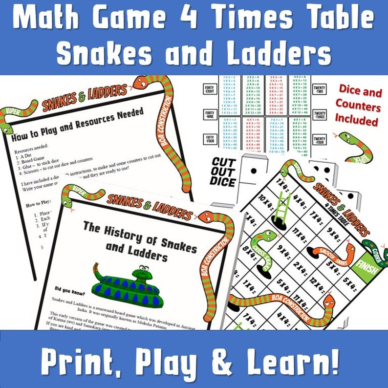 KS2 Snakes and Ladders Game Print/ Multiplication Times Table Game/ KS2  Maths Worksheet/ Times Table Woorksheet Game/ Kids Maths Board Game