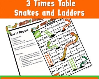 3 Times Table, Printable kids Games ,Snakes and Ladders Multiplication Game, Maths Activity, Learn and Teac, Year 3,4,5,6 Grade 2,3,4,5,