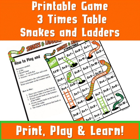photograph regarding Snakes and Ladders Printable named Days Tables Snakes and Ladders Printable/ Multiplication Sport Printable/ Occasions Tables Game titles ks2/ Multiplication Game titles for youngsters/ NinaLaZina