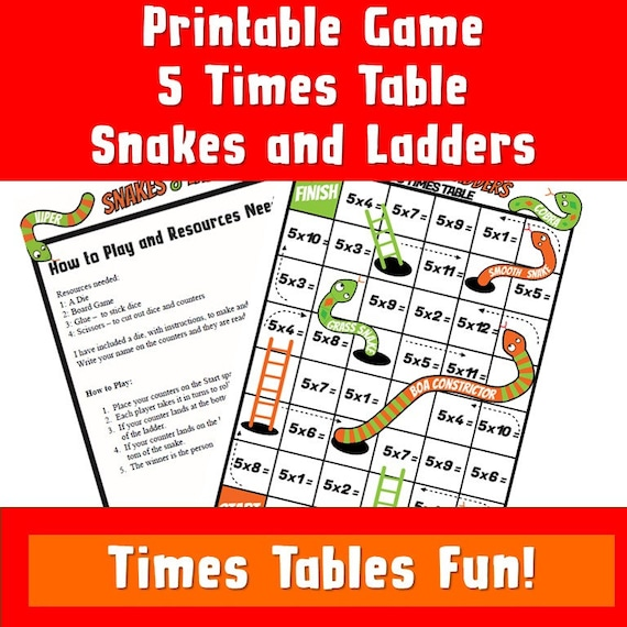 Multiplication Snakes and Ladders/5 Times Tables Activities Board Game/ Fun  Board Game For Kids/ Printable PDF/times tables games ks2
