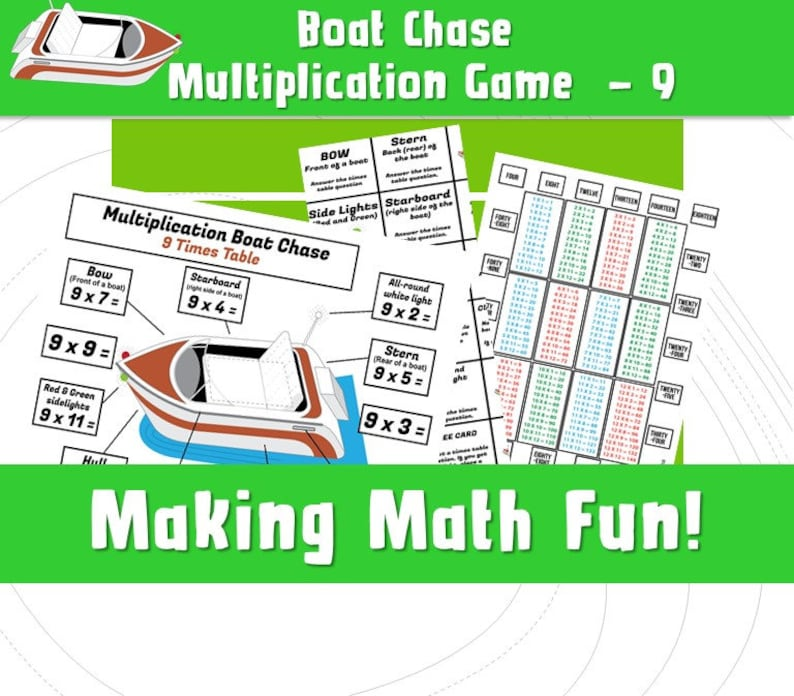 image regarding Multiplication Game Printable titled 9 Instances Desk Printable Match/ Maths Video games Practice Occasions Tables/ Multiplication Boat Race Match/ Printable Multiplication Pursuits/ NinaLaZina