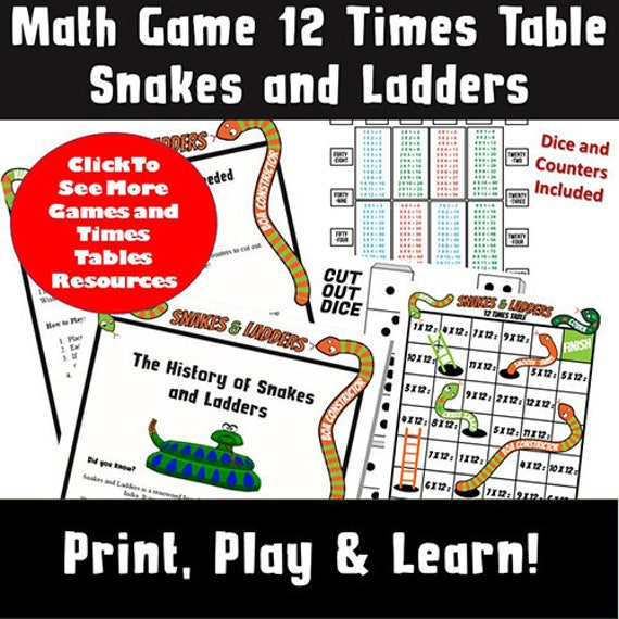 photograph about Printable Board Games for Kids named Printable Board Match/ Small children Printable Occasion Board Video games/ Multiplication Snakes and Ladders/ Small children Pursuits/ Generate Print and Participate in/ 12x