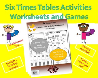 Kids Multiplication Printable, Multiply By 6 Games and Worksheet Pack, Facts Games,  Activity Pack Grade 2, 3, 4, 5, Year  3, 4, 5 ,6,
