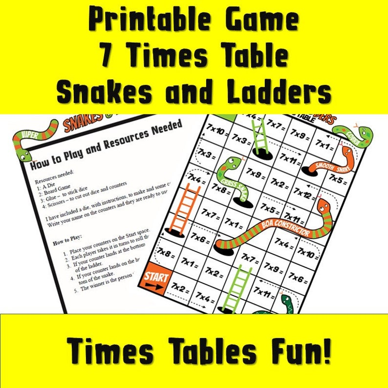 photograph about Printable Board Games for Adults titled Manufacturing Maths even further Entertaining Board Online games/ 7 Situations Desk Printable Snakes and Ladders/ Maths Activity PDF/ Printable Maths Board Sport/ Situations Tables 7