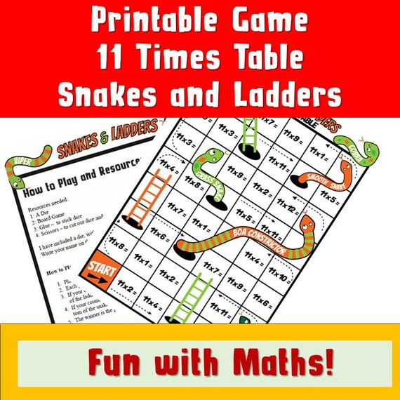 graphic relating to Snakes and Ladders Printable named Printable 11 Moments Desk Snakes and Ladders/ Enlightening Young children Social gathering Board Online games/ Multiplication Activity/ NinaLaZina