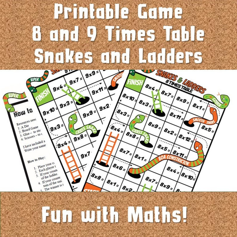 image about Multiplication Games Printable titled Snakes and Ladders Multiplication Recreation Printable/Multiplication Board Game titles ks2/ Occasions Desk Board Game titles in the direction of Print/ Occasions Tables Functions