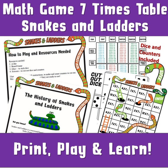 Multiplication Games Printable Snakes And Ladders Printable A4 Making Maths More Fun Board Games Times Tables Activities Ks2 7 Times
