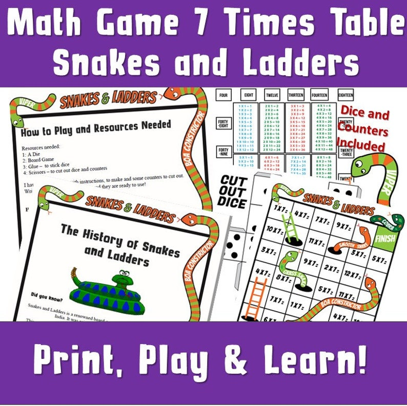 photograph about Snakes and Ladders Printable named Multiplication Online games Printable/ Snakes and Ladders Printable a4/ Generating Maths even more Entertaining Board Online games/ Situations Tables Routines ks2 / 7 Situations