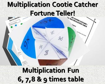 Origami Cootie Catcher,Fun Multiplication Game, Printable PDF for Kids, Fun Learning Activity Paper Project,STEM folding learning Activity