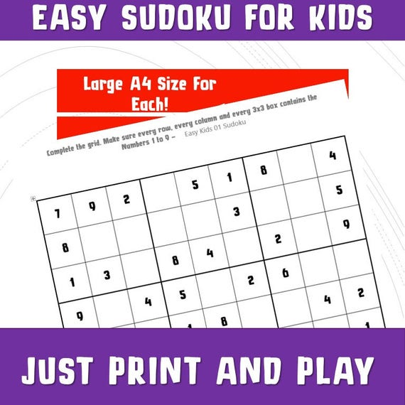 photograph regarding Sudoku for Kids Printable called Printable Sudoku for Youngsters/ Quiz Video games/ Young children Basic Sudoku/Printable Video games Math / Reward Celebration Board Video games/ Things to do/ Push Print Engage in