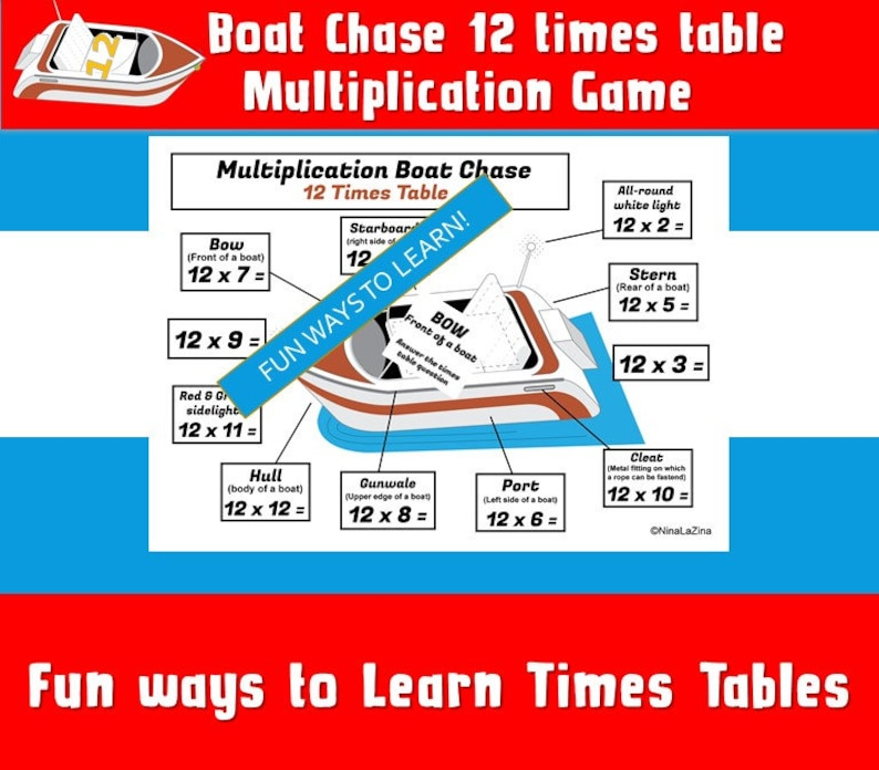 Maths Games For Kids/ Year 4,5,6 / Grade 3,4,5,6/ Numeracy Games Kids ks2 /  Number Games Printable/ Boat Times Table Game/ Fun Math Game