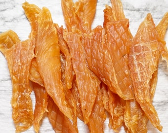 Dog Treats- 100% All Natural Dehydrated Chicken Jerky-for dogs, cats & small animals Thin strips, chewable, not hard