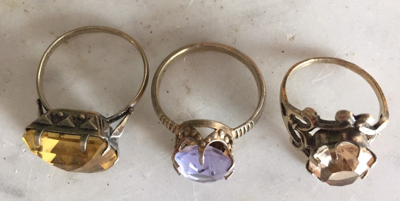 Vintage silver 3 pcs cocktail jewelry rings with stones