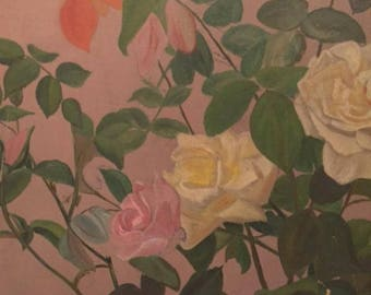 19 th c American Floral painting/oil on canvas/ roses
