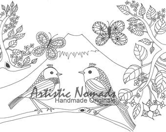 Royal Birds I, Coloring pages, Coloring Sheets, Adult Coloring Pages, Children's Coloring Pages, Digital Prints, Coloring Books