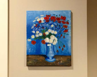 Vintage Hand Painted Blue Flowers Poppy,Acrylic Painting on Canvas,Van Gogh Flowers in Blue vase