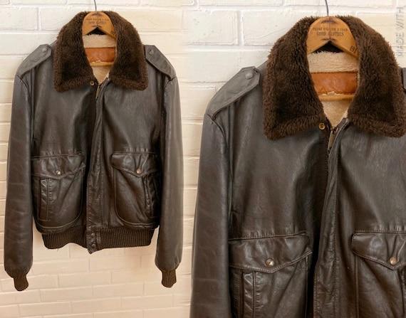 Mens leather jacket, bomber jacket, Flight jacket.