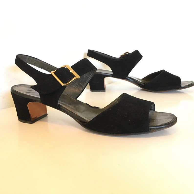 403ca82cc1b71 60s Low heel shoes, Slingback heels, Strappy sandals Open toe shoes,  vintage shoes