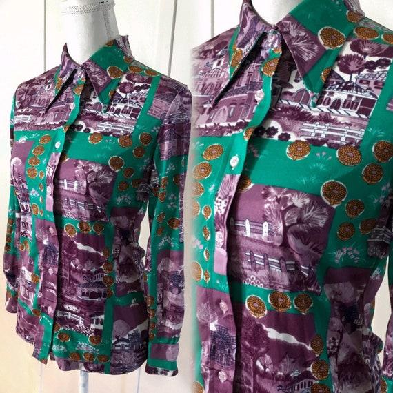 1970s  Disco Party shirt, Dagger collar,  .. Size