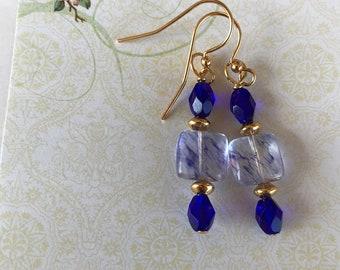 Blue quartz earrings, blue and gold earrings, dangle earrings, beaded earrings
