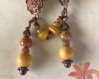Copper cross earrings, cross earrings, copper earrings, neutral earrings, rustic earrings, 2 dangle earrings, jasper earrings, gift