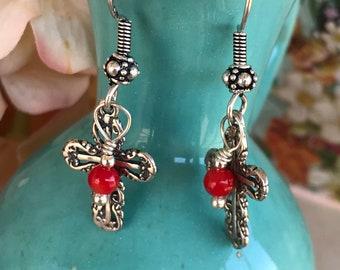 Sterling silver cross earrings, cross earrings, crosses, red coral earrings, Christian earrings, religious earrings, dangle earrings