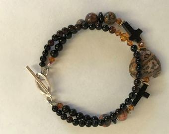 Sterling Silver Black Onyx cross bead leopardskin heart agate and crystal bracelet gift birthday