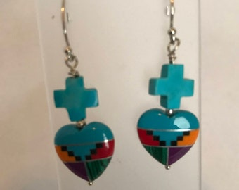 Sterling Silver Turquoise Crosses and Inlaid Gemstone Hearts