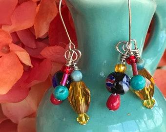 Multi dangle earrings, multi color earrings, dangle earrings, unusual earrings,