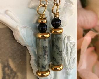 green earrings, african turquoise earrings, black and green earrings, green and gold earrings, dangle earrings, drop earrings, gift