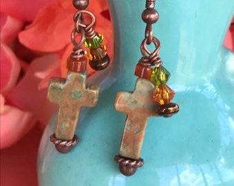 Rustic cross earrings, cross earrings, jasper earrings, copper earrings, Christian earrings, religious earrings, faith earrings,