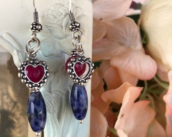 Blue and red earrings, heart earrings, blue sodalite earrings, heart charm earrings, sterling silver earrings, dangle earrings