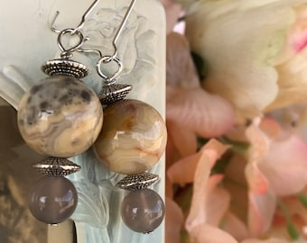 Agate earrings, large earrings, gray quartz earrings, dangle earrings, beaded earrings, gift
